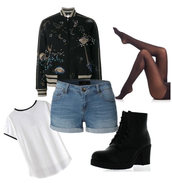 blue-light-shorts-denim-white-tee-black-jacket-bomber-black-tights-black-shoe-booties-print-fall-winter-weekend.jpg
