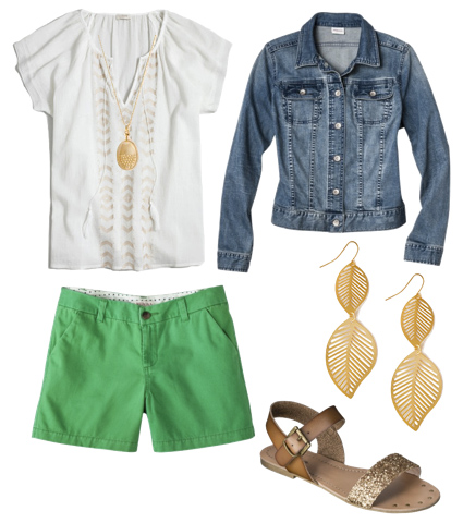 green-emerald-shorts-white-top-blouse-peasant-necklace-pend-earrings-tan-shoe-sandals-blue-med-jacket-jean-howtowear-fashion-style-spring-summer-outfit-weekend.jpg