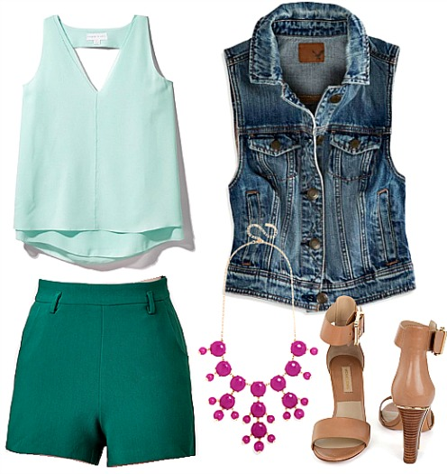 green-emerald-shorts-green-light-cami-blue-med-vest-jean-bib-necklace-tan-shoe-sandalh-howtowear-fashion-style-spring-summer-outfit-lunch.jpg