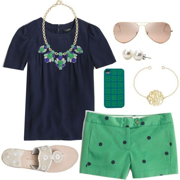 green-emerald-shorts-blue-navy-top-bib-necklace-dot-print-white-shoe-sandals-pearl-studs-sun-howtowear-fashion-style-spring-summer-outfit-lunch.jpg