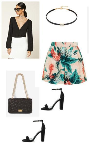 green-emerald-shorts-black-top-bellsleeves-print-black-bag-black-shoe-sandalh-choker-howtowear-fashion-style-outfit-spring-summer-brun-dinner.jpg