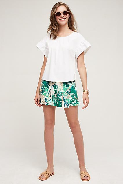 green-emerald-shorts-white-top-floral-print-howtowear-fashion-style-outfit-spring-summer-tan-shoe-sandals-bracelet-sun-hairr-weekend.jpg