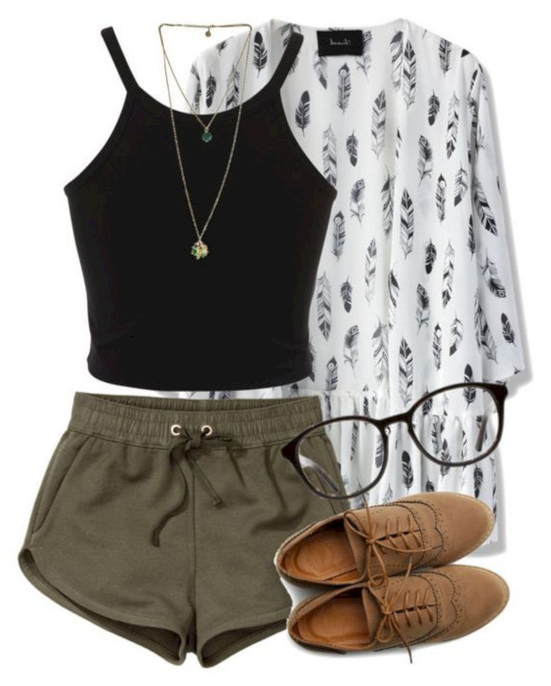 how-to-style-green-olive-shorts-sweat-black-crop-top-tan-shoe-brogues-white-cardiganl-print-necklace-spring-summer-fashion-weekend.jpg