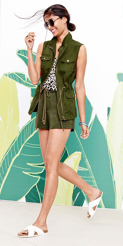 green-olive-shorts-white-cami-print-brun-sun-white-shoe-sandals-green-olive-vest-utility-spring-summer-weekend.jpg