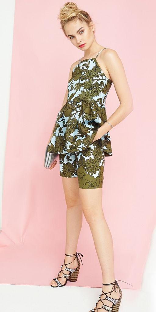 green-olive-shorts-floral-print-matchset-green-olive-cami-bun-spring-summer-blonde-lunch.jpg