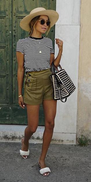 green-olive-shorts-black-tee-stripe-black-bag-sun-blonde-hat-straw-white-shoe-sandals-spring-summer-weekend.jpg