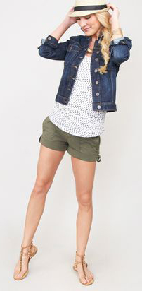green-olive-shorts-white-tee-dot-print-necklace-blue-navy-jacket-jean-hat-panama-braid-cognac-shoe-sandals-howtowear-fashion-style-spring-summer-outfit-blonde-weekend.jpeg