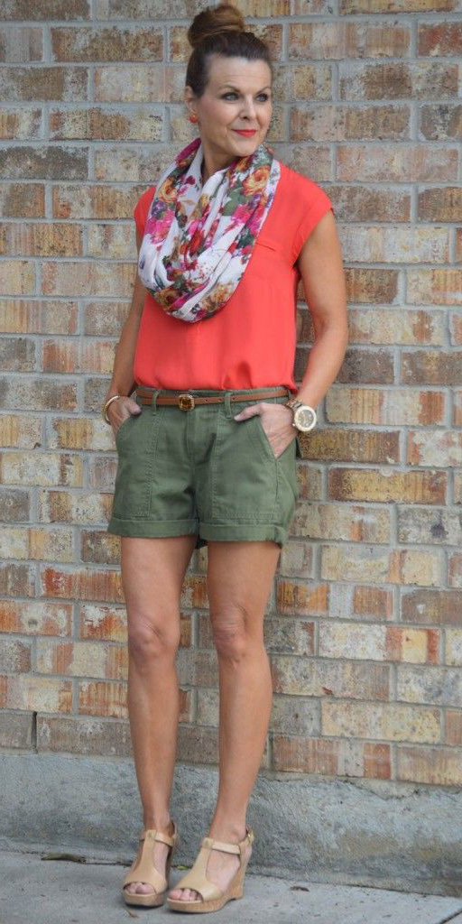 green-olive-shorts-orange-tee-belt-tan-shoe-sandalw-bun-floral-print-pink-magenta-scarf-studs-howtowear-fashion-style-outfit-spring-summer-hairr-lunch.jpg
