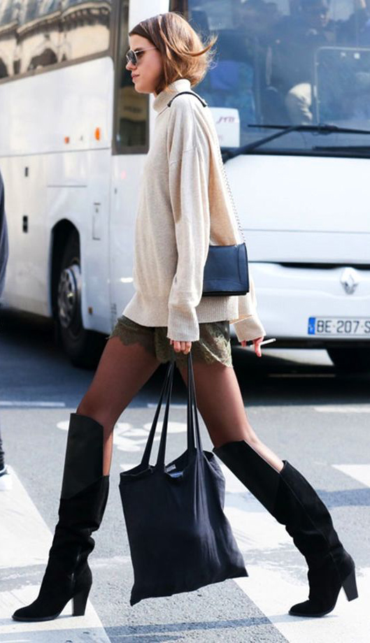 green-olive-shorts-tan-sweater-turtleneck-hairr-sun-black-bag-black-shoe-boots-black-tights-lace-fall-winter-lunch.jpg