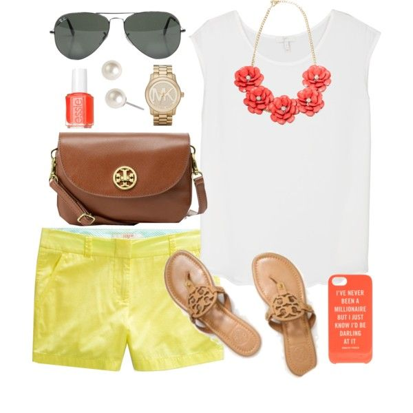 yellow-shorts-white-tee-bib-necklace-cognac-bag-cognac-shoe-sandals-nail-pearl-studs-watch-sun-howtowear-fashion-style-outfit-spring-summer-weekend.jpg