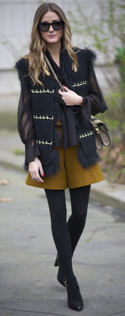 yellow-shorts-black-top-blouse-tan-bag-sheer-sun-black-shoe-booties-howtowear-fashion-style-outfit-fall-winter-black-tights-black-vest-oliviapalermo-celebrity-street-lunch-hairr.jpg