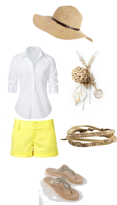 yellow-shorts-white-collared-shirt-tan-shoe-sandals-hat-necklace-pend-bracelet-howtowear-fashion-style-outfit-spring-summer-weekend.jpg