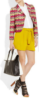 yellow-shorts-white-collared-shirt-red-jacket-print-black-bag-black-shoe-sandalh-howtowear-fashion-style-outfit-spring-summer-lunch.jpeg