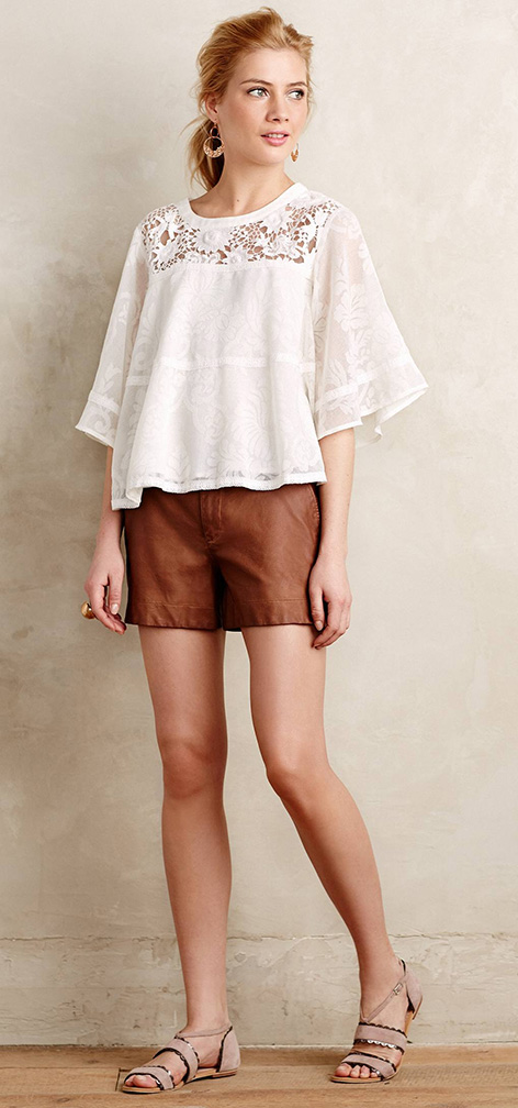 brown-shorts-white-top-blouse-peasant-tan-shoe-sandals-blonde-earrings-spring-summer-lunch.jpeg