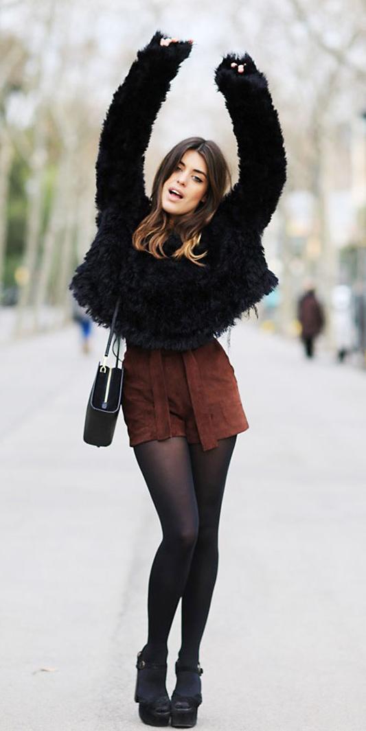 brown-shorts-black-tights-black-sweater-fuzzy-hairr-black-bag-black-shoe-sandalh-fall-winter-lunch.jpg