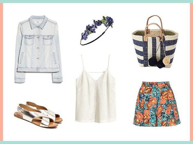 blue-med-shorts-floral-print-orange-shorts-blue-bag-tote-blue-light-jacket-jean-gray-shoe-sandals-silver-head-white-cami-spring-summer-weekend.jpg