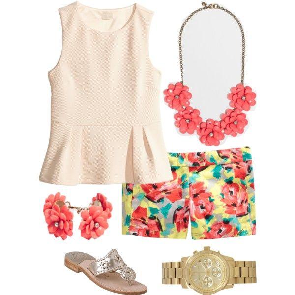 orange-shorts-white-top-peplum-bib-necklace-flower-floral-print-watch-tan-shoe-sandals-bracelet-howtowear-fashion-style-spring-summer-outfit-lunch.jpg