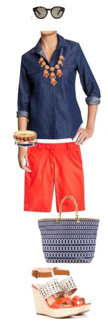 orange-shorts-blue-navy-collared-shirt-blue-bag-tote-bracelet-bib-necklace-sun-orange-shoe-sandalw-howtowear-fashion-style-outfit-spring-summer-bermuda-lunch.jpg