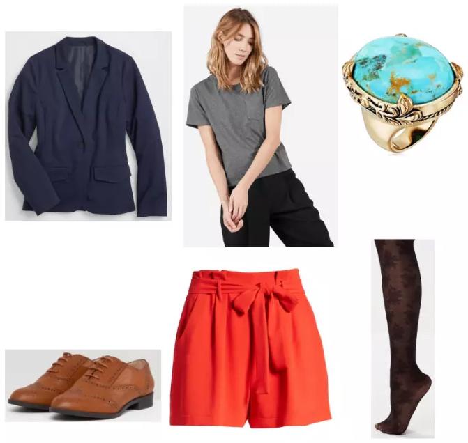 orange-shorts-grayl-tee-cognac-shoe-brogues-black-tights-ring-turquoise-blue-navy-blazer-fall-winter-lunch.jpg