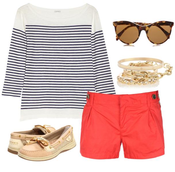 orange-shorts-blue-navy-tee-stripe-tan-shoe-flats-bracelet-sun-howtowear-fashion-style-outfit-spring-summer-weekend.jpg