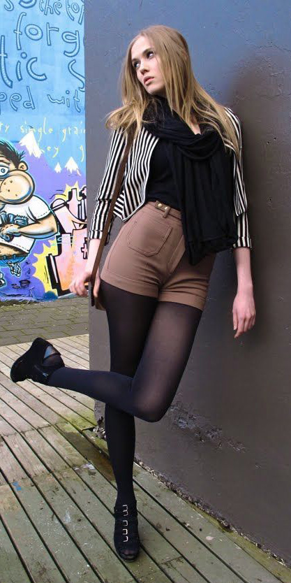 camel-shorts-black-scarf-tan-jacket-stripe-black-tights-black-shoe-booties-blonde-fall-winter-lunch.jpg