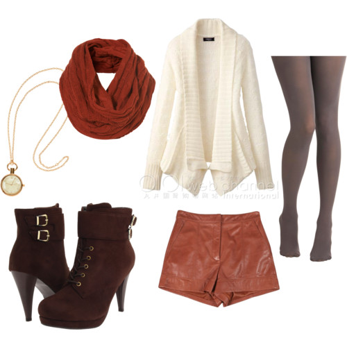 o-camel-shorts-white-cardiganl-orange-scarf-brown-tights-brown-shoe-booties-leather-necklace-pend-howtowear-fashion-style-outfit-fall-winter-lunch.jpg
