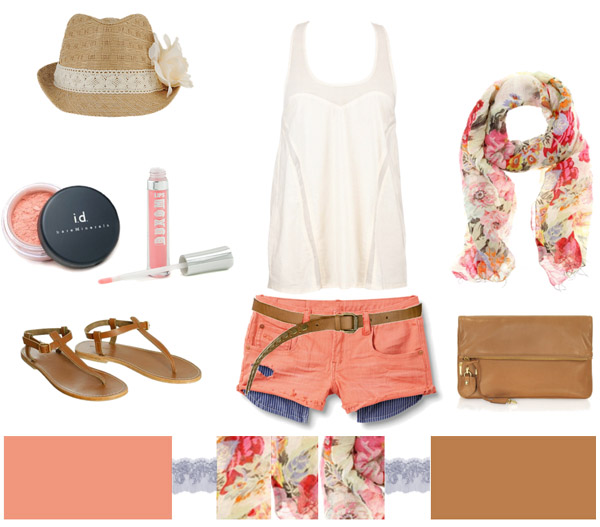 o-peach-shorts-white-top-tank-pink-magenta-scarf-floral-print-hat-cognac-shoe-sandals-cognac-bag-howtowear-fashion-style-spring-summer-outfit-weekend.jpg