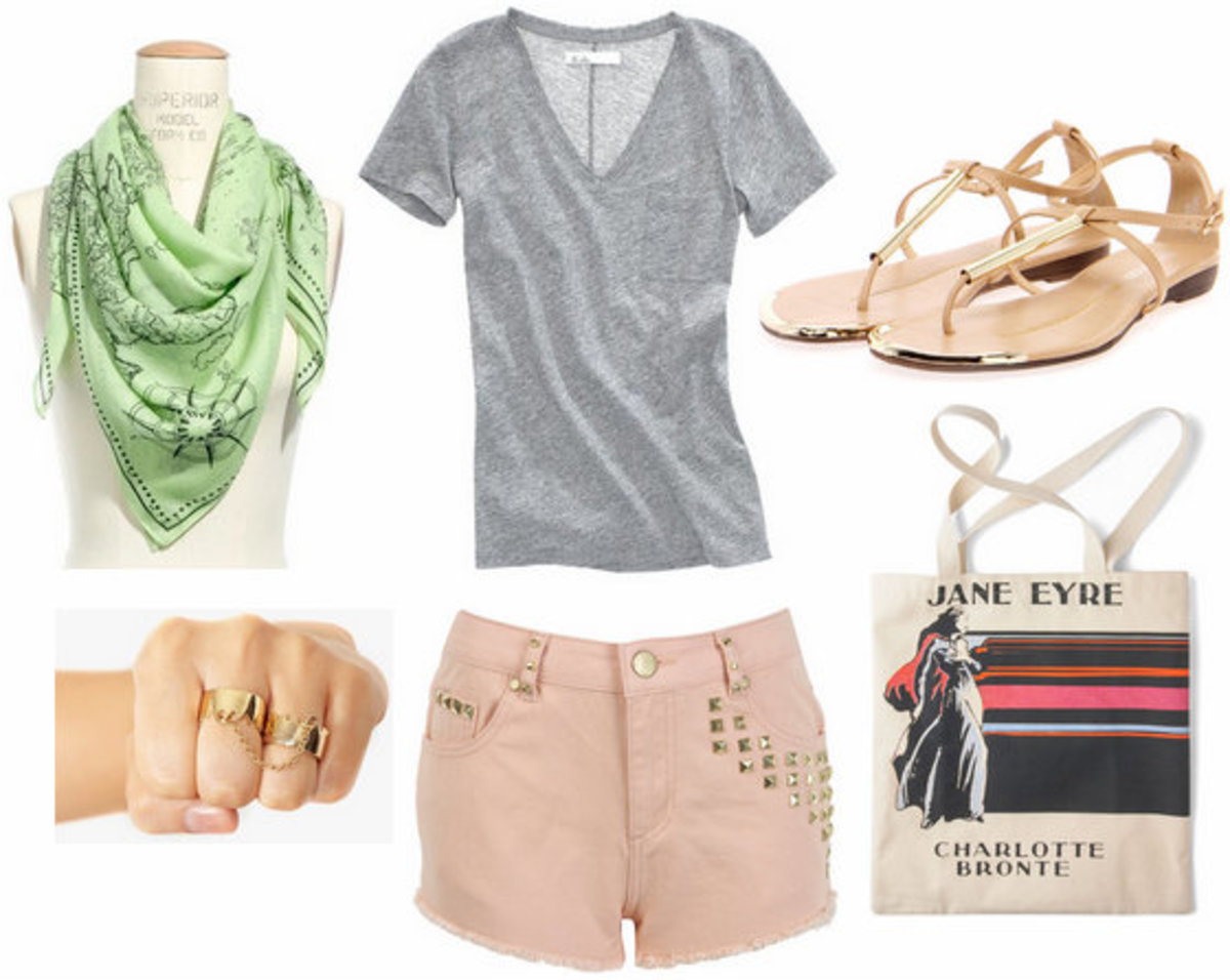 o-peach-shorts-grayl-tee-green-light-scarf-tan-shoe-sandals-white-bag-tote-howtowear-fashion-style-outfit-spring-summer-weekend.jpg