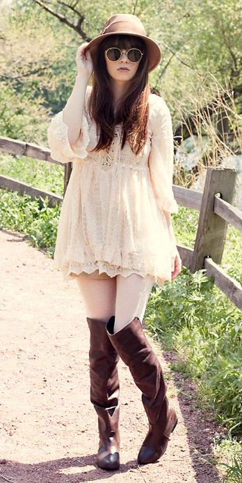 tan-dress-peasant-mini-tan-shorts-layer-hairr-sun-hat-brown-shoe-boots-otk-fall-winter-lunch.jpg