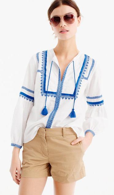 tan-shorts-white-top-blouse-peasant-sun-bun-hairr-jcrew-spring-summer-weekend.jpg