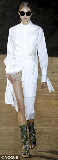 white-dress-tan-shorts-sun-bun-shirt-wear-style-fashion-spring-summer-runway-lunch.jpg