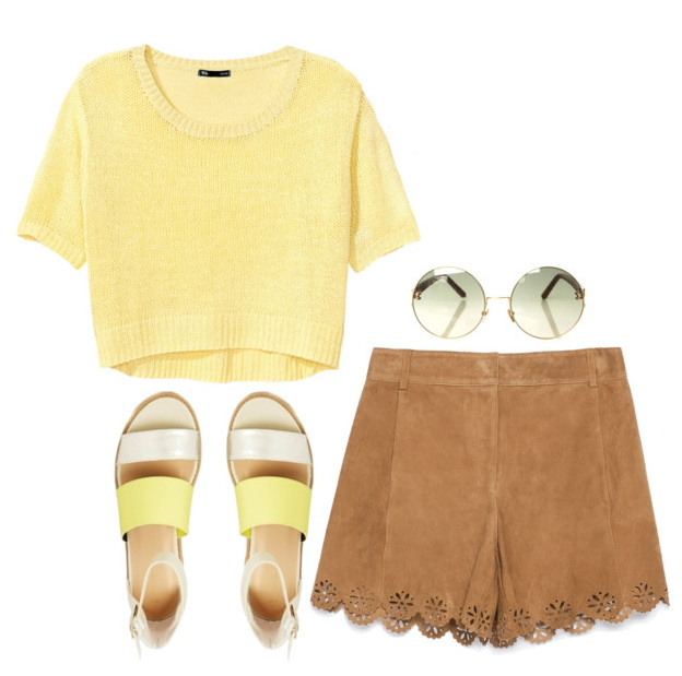 o-tan-shorts-yellow-sweater-crop-sun-yellow-shoe-sandals-suede-howtowear-fashion-style-outfit-spring-summer-lunch.jpg