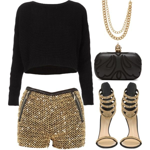 o-tan-shorts-black-sweater-sequin-gold-tan-shoe-sandalh-black-bag-clutch-necklace-chain-howtowear-fashion-style-outfit-fall-winter-holiday-dinner.jpg