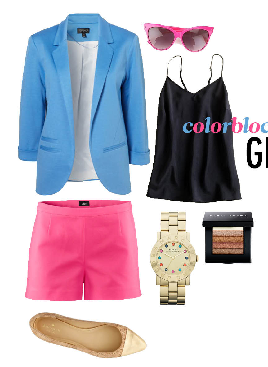 r-pink-magenta-shorts-black-cami-blue-light-jacket-blazer-sun-watch-tan-shoe-pumps-colorblock-howtowear-fashion-style-outfit-spring-summer-lunch.jpg