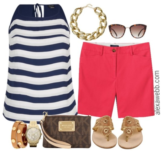 r-pink-magenta-shorts-blue-navy-top-stripe-bracelet-cognac-shoe-sandals-brown-bag-clutch-watch-sun-bermuda-howtowear-fashion-style-spring-summer-outfit-lunch.jpg