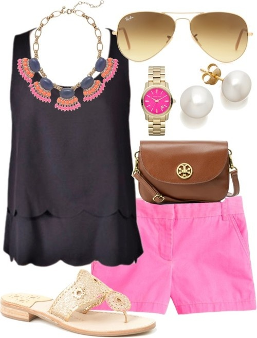 pink-magenta-shorts-black-top-bib-necklace-pearl-studs-sun-watch-cognac-bag-tan-shoe-sandals-spring-lunch.jpg