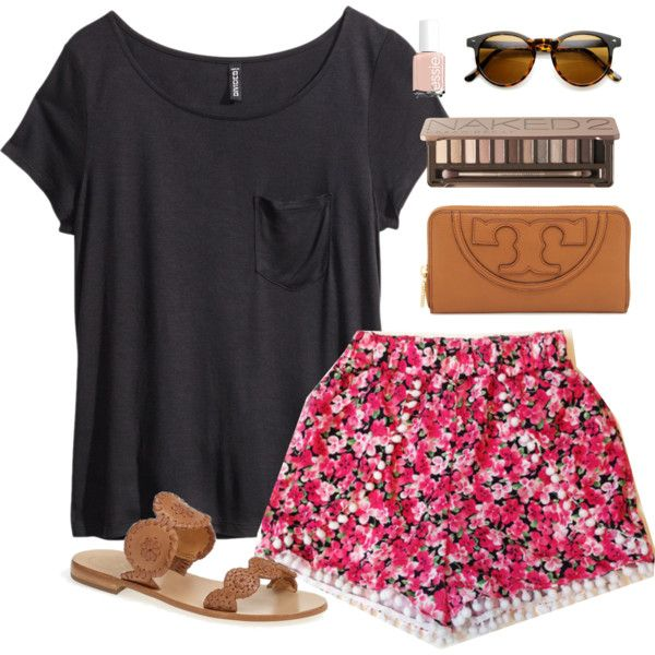 r-pink-magenta-shorts-black-tee-print-floral-cognac-shoe-sandals-cognac-bag-sun-nail-howtowear-fashion-style-outfit-spring-summer-weekend.jpg