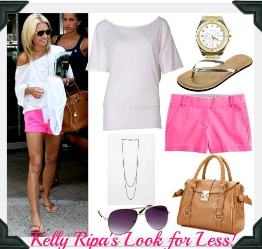 r-pink-magenta-shorts-white-tee-tan-shoe-sandals-cognac-bag-sun-necklace-kellyripa-howtowear-fashion-style-spring-summer-outfit-blonde-weekend.jpg