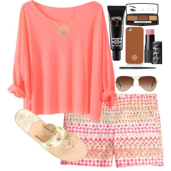 r-pink-magenta-shorts-o-peach-tee-necklace-sun-tan-shoe-sandals-print-howtowear-fashion-style-outfit-spring-summer-weekend.jpg