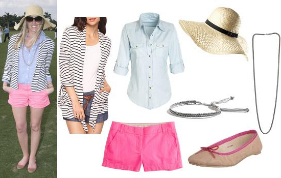 r-pink-magenta-shorts-blue-light-collared-shirt-tan-shoe-flats-hat-necklace-white-jacket-blazer-stripe-howtowear-fashion-style-outfit-spring-summer-weekend.jpg