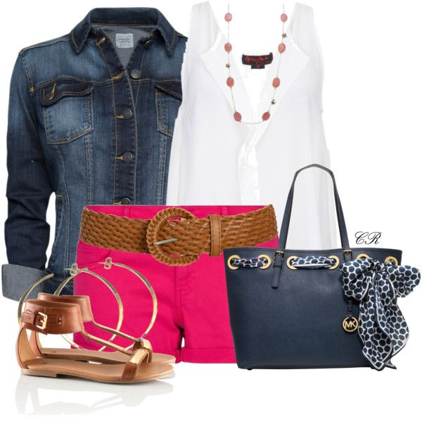 r-pink-magenta-shorts-white-top-blue-navy-jacket-jean-belt-necklace-blue-bag-tote-cognac-shoe-sandals-hoops-denim-howtowear-fashion-style-spring-summer-outfit-weekend.jpg