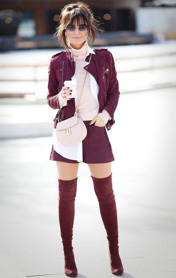 burgundy-shorts-pink-light-tee-turtleneck-tonal-burgundy-jacket-moto-bun-brun-sun-burgundy-shoe-boots-otk-fall-winter-lunch.jpg