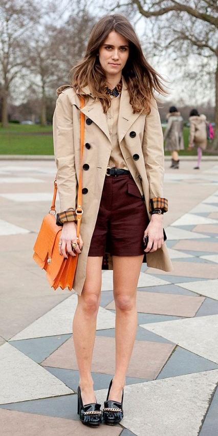burgundy-shorts-hairr-tan-collared-shirt-orange-bag-black-shoe-pumps-tan-jacket-coat-trench-fall-winter-lunch.jpg