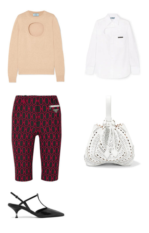 burgundy-shorts-cycling-bike-print-tan-sweater-white-collared-shirt-white-bag-black-shoe-pumps-fall-winter-lunch.jpg