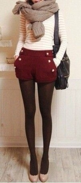 r-burgundy-shorts-white-sweater-tan-scarf-black-tights-black-bag-tan-shoe-pumps-howtowear-fashion-style-fall-winter-outfit-lunch.jpg