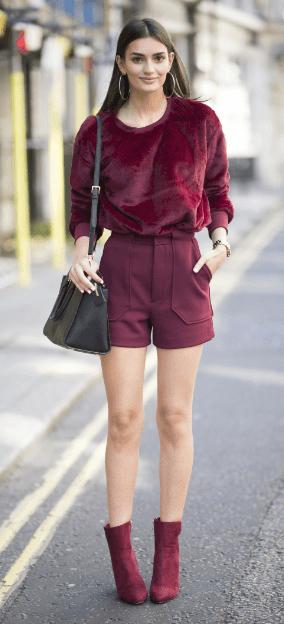 burgundy-shorts-burgundy-sweater-fuzzy-hoops-mono-burgundy-shoe-booties-fall-winter-brun-lunch.jpg