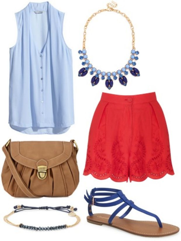 red-shorts-blue-light-top-blue-shoe-sandals-tan-bag-bib-necklace-bracelet-howtowear-fashion-style-outfit-spring-summer-lunch.jpg
