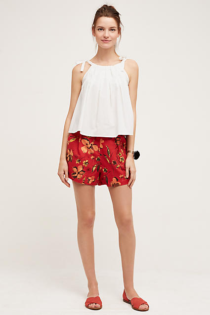 red-shorts-white-top-howtowear-fashion-style-outfit-spring-summer-red-shoe-sandals-bracelet-bun-floral-print-hairr-weekend.jpg