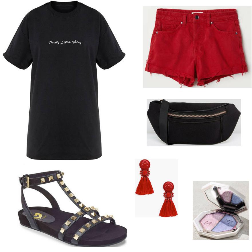 red-shorts-denim-black-graphic-tee-earrings-black-bag-fannypack-black-shoe-sandals-gladiators-spring-summer-weekend.jpg