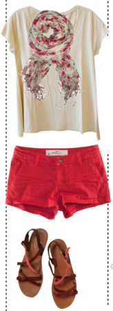 red-shorts-white-tee-red-scarf-floral-brown-shoe-sandals-howtowear-fashion-style-outfit-spring-summer-weekend.jpg